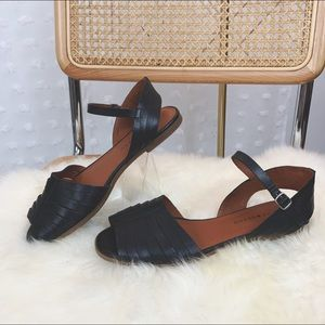 """LUCKY BRAND """"Channing"""" Black Leather Sandal"""